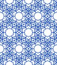 Pattern with mediterranean moroccan motifs vector in royal blue and white and texture for web print fashion fabric or textile Royalty Free Stock Image