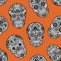 Seamless pattern with lace sugar skulls on orange background.