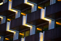 Pattern of modern apartment building a balconies in grid and repeated shape geometry line and block Stock Photo