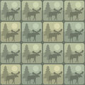 Pattern moose seamless background featuring a scene Royalty Free Stock Images