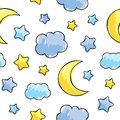Pattern with night sky elements hand drawn vector illustration Stock Photos