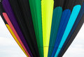 Pattern on nylon envelpe of a hot air balloon colored stripes inflated Stock Photos