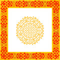 Pattern octagon in a square thailand flower gold frame Royalty Free Stock Photos