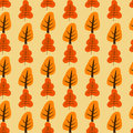 Pattern with orange and red trees
