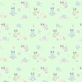 Pattern with owls, pastel colors