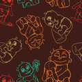 Pattern with painted newborn babies in different poses