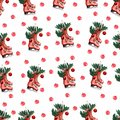 Pattern of Pair red vintage ice skates hanging on the laces decorated with christmas decor. Christmas red berries, branch of pine