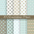 Pattern papers for scrapbook tiling blue white and brown shabby color endless texture can be used printing onto fabric and Stock Images