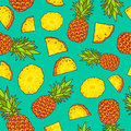 Pattern of pineapples. Paradise fruit Royalty Free Stock Photo