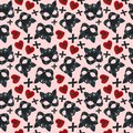 Pattern with a pink background and a picture of a cat`s skin mask