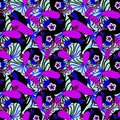 Pattern with pink and blue tropical flowers