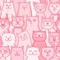 Pattern pink cats