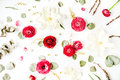 Pattern with pink and red roses or ranunculus, white tulips and green leaves Royalty Free Stock Photo