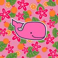 Pattern with pink sperm whales