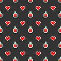Pattern with pixel potions and red hearts