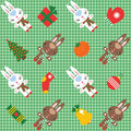 Pattern with rabbits and christmas decorations Stock Image