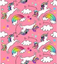 Unicorn silhouette and rainbows in pink background with clouds and stars pattern