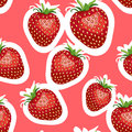 Pattern of realistic image of delicious big strawberries different sizes. Red background