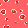 Pattern of realistic image of delicious ripe strawberries different sizes. Red background