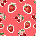 Pattern of realistic image of delicious strawberries and cherry different sizes. Red background