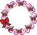 Pattern, red butterflies on pink flowers. Royalty Free Stock Photo