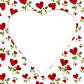 Pattern red heart rose petals on a stalk greeting card billet of green leaves white background Stock Image