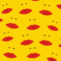 Pattern with a red lips on yellow background.
