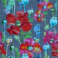 Pattern with red poppies painted in watercolor on a denim background