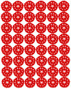Pattern from red shapes like laces with hearts Stock Photo