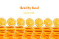 Pattern of repeating stacks of sliced oranges on a white background. Pile of slices of juicy orange. . Decorative Fruit fr