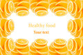 Pattern of repeating stacks of sliced oranges on a white background. Pile of slices of juicy orange. Isolated. Decorative Fruit fr