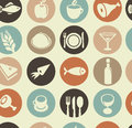 Pattern with restaurant and food icons Royalty Free Stock Photography