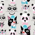 Pattern of retro hipster animal portraits Stock Photo