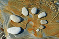Pattern rhythm of stones in sea shore Stock Photo