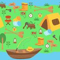stock image of  Seamless pattern with a tent and boat on the river - vector illustration, eps