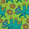 Pattern running green dinosaurs and flowers on a green background Royalty Free Stock Photo