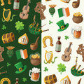 Pattern for saint patrick day with traditional iri irish items vector Royalty Free Stock Image