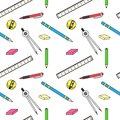 Pattern with school stationery and office pens and rulers Stock Photography