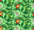 Pattern seamless branch of an apple-tree with a flower and an apple. For fabric, wallpaper, wrapping paper