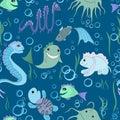 Pattern seamless from the cartoon sea animals . Royalty Free Stock Photo
