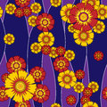 Pattern seamless flowers with the stylized of different coloring on a decorative background of blue and violet color Royalty Free Stock Photo