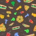 Pattern seamless set of fast food and drink. no line shape flat pastel color design vintage style. illustration eps10