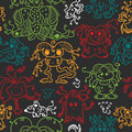 Pattern seamless texture ufo alien monsters bacteria human virus viruses multi color black Stock Photography