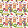 Pattern, set of different travel doodles elements, vacation holiday, romantic and summer things macaroons, car, fruits, camera Royalty Free Stock Photo