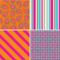 Pattern a set of four coloured seamless patterns vector illustration Royalty Free Stock Image
