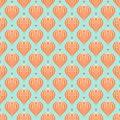 Pattern with shapes similar to hot air balloons vintage seamless vector and small dots retro texture for print web wallpaper Stock Photos
