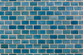 Pattern of shiny blue brick wall background. Royalty Free Stock Photo