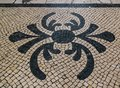 Pattern at sidewalk on the streets of Lisbon in Portugal Royalty Free Stock Photo
