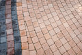 Pattern of small brick block walkway in the garden Royalty Free Stock Photo