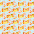 Pattern of small houses children s colored cute Royalty Free Stock Images